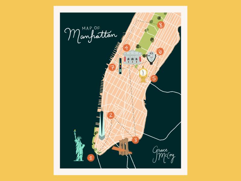 Illustrated Map of Manhattan graphic designer designer design booklet design booklet how to apple pencil illustrator procreate vector new york city nyc map manhattan adobe illustrator florida central florida typography illustration graphic design