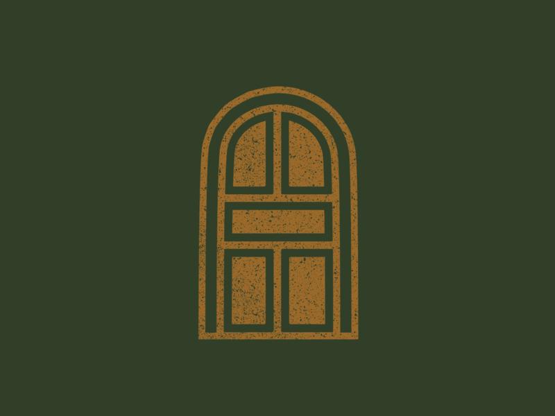 Unused Door/Portal Icon green gold doorway arch arched door arched true grit texture supply texture portal door illustrator vector icon logo design branding adobe illustrator illustration graphic design distressed