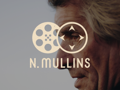 N. Mullins Logo Mockup video identity branding identity graphic film reel videography film icon logo distressed typography branding adobe illustrator graphic design