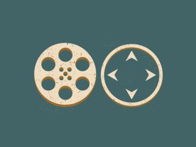 Film Reel and Compass Art Element identity identity designer branding logomark logo adobe illustrator distressed icon videography film reel compass illustration graphic design