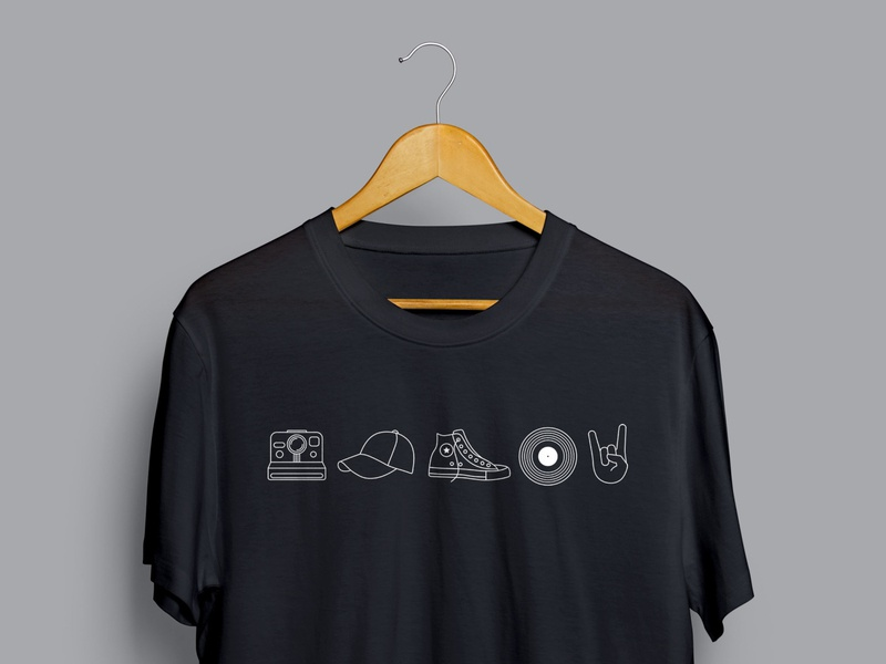 "ELLIV 2019 - ""Timeless"" Icons T-Shirt illustrator shirt mockup shirt design shoes lines line design iconography rock on icon record icon converse icon hat icon polaroid icon icons"
