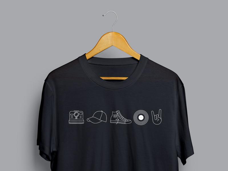 "ELLIV 2019 - ""Timeless"" Icons T-Shirt illustrator shirt mockup shirt design shoes lines line design iconography rock on icon record icon converse icon hat icon polaroid icon icons"