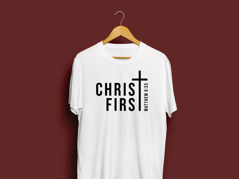 "Minimalistic ""Christ First"" Theme Shirt for WCA school theme sermon type typography christian logo verses bible verse cross jesus christ seek first the kingdom matthew 6:33 christian design jesus is king jesus sermon graphic christ first"