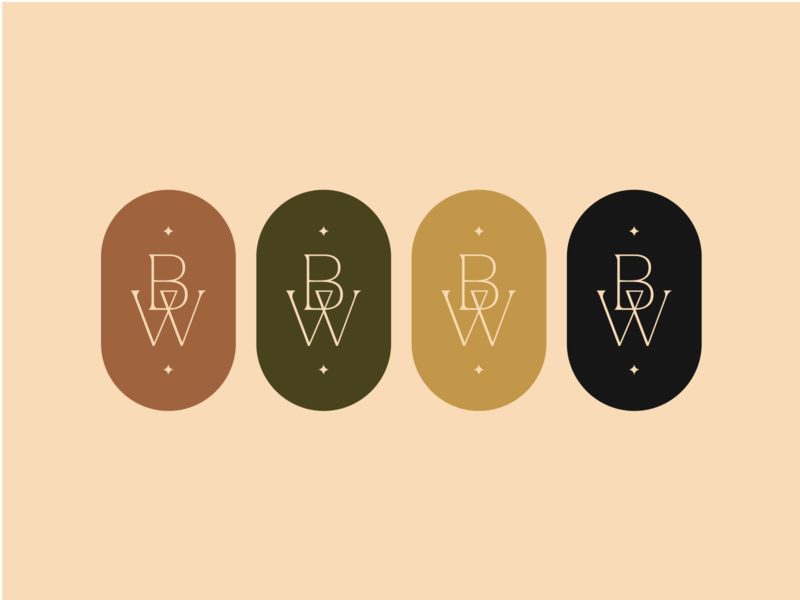 Brooklyn West - Monogram Icons icon logo branding illustrator design symbol design earth tones color picker color palette earthy western photographer brand identity symbol icon monogram symbol