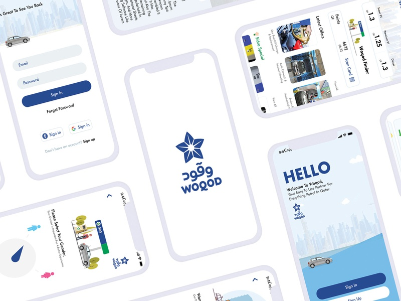 Waqod Mobile App Design illustration xd vector branding ux ui minimal flat design app