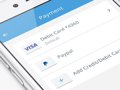 Payment methods screen mobile app ios payments cards