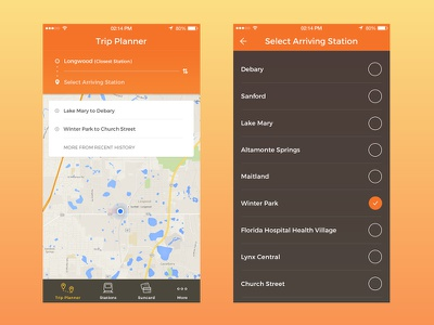 SunRail redesign concept - Trip Planner map redesign train sunrail ui app ios mobile
