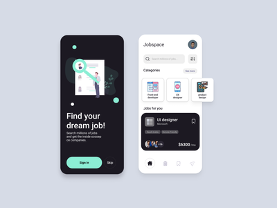 jobspase app app creative app design product design design uxui uiux ui ux job application indeed linkedin jobs job