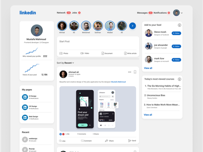 Redesign LinkedIn website app design job creative branding figma product design design app ux ui