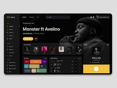 Grova Music website design web website soundcloud spotify music branding app xd design creative product design design ux ui