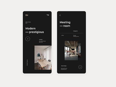 Dir   Interior design app UI dark interior branding creative app xd design product design ux ui design