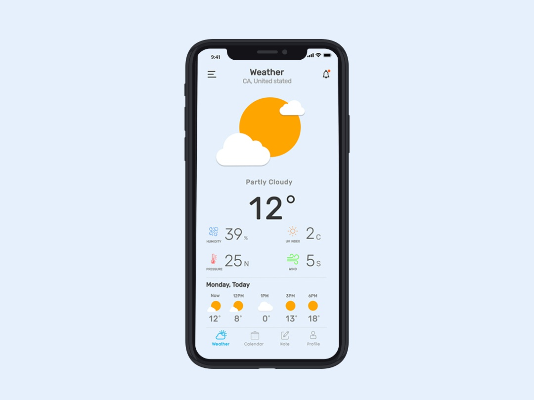 Weather Note Calendar app concept sun mac ios menu complete uxdesign uiuxdesign uidesign ux ui uiux blue appdesign app simple clean minimal mockup weather app weather