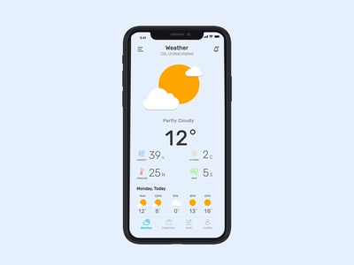 Weather Note Calendar app concept sun mac ios menu complete uxdesign uiuxdesign uidesign ux ui uiux blue appdesign app simple clean minimal mockup weather app weather