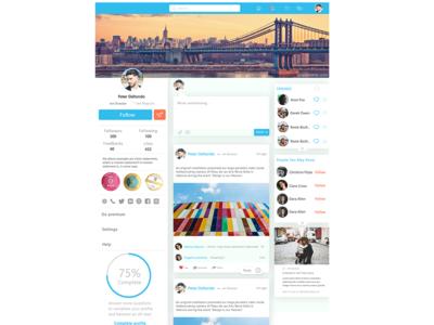 Social Media Concept suggest friends notification contact simple clean minimal facebook follow bio feed request uidesign uiux webdesign social app media company post social media