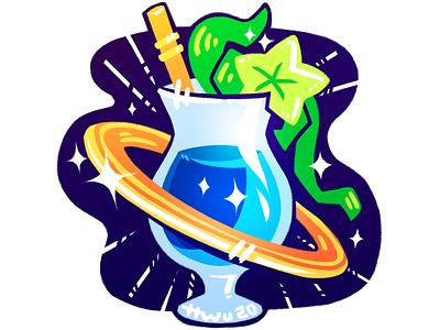 Space Tiki illustration sticker space cocktail tiki bar