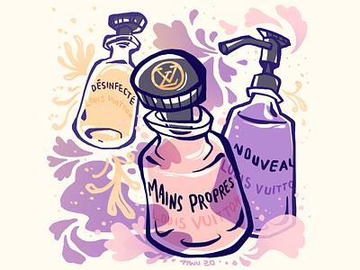 LV Sanitizers perfume product coronavirus covid19 illustration editorial