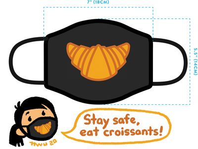 Croissant Smile design croissant mask covid19 vector flat illustration