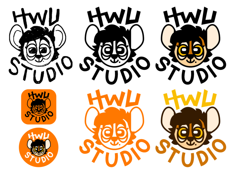 HWU Studio Logos cartoon character illustration vector icon branding logodesign logo sketch