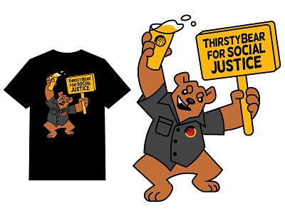 ThirstyBear Graphic tshirt craftbeer beer bear branding logo animal flat vector illustration