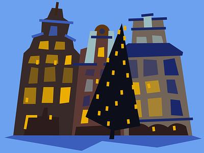 Gamla Stan winter cityscape flat vector illustration