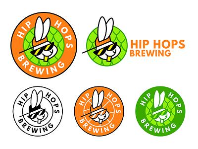 Hip Hops Brewing rabbit beer branding design logo flat vector
