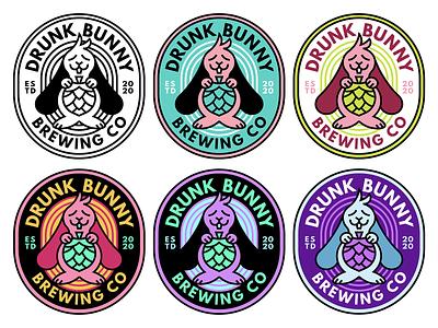 Drunk Bunny Brewing Co design rabbit beer logo branding flat vector