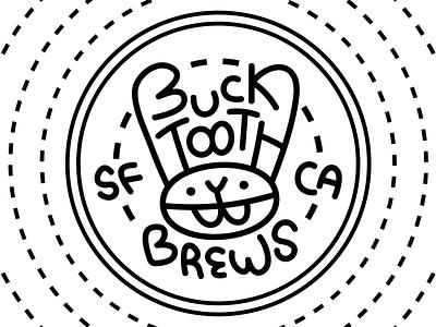 Bucktooth Brews rabbit design beer logo branding flat vector