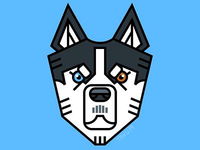 Husky dog flat vector illustration