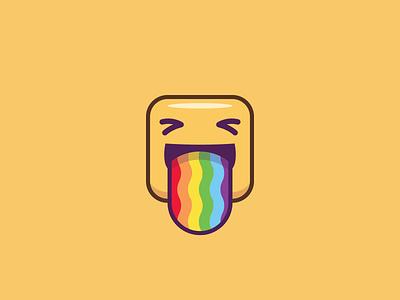 Emoji - Rainbow Tongue square vomit throw colors rainbow tongue face emoji opera browser