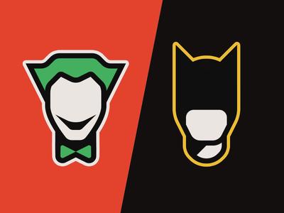 Batman vs. Joker sticker minimal portrait knight dark bat black red comics dc joker batman