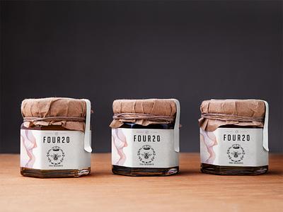 Jars of cannabis infused honey logo identity brand illustration branding packages packaging design design packaging