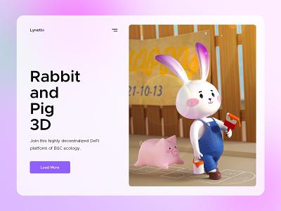 rabbit and pig 3D design 3d illustration