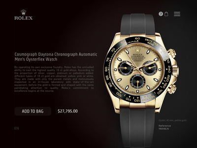 Rolex Cosmograph Daytona shop ecommerce redesign vector ux ui design illustration branding watch rolex