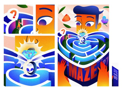 MAZE dislocation design inception ui 设计 the gradient inspiration illustration 插图