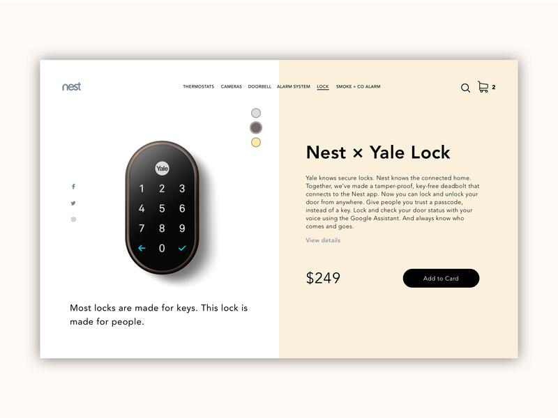 Nest-Yale Lock shop ecommerce minimalism design soft colors lock nest product page web ui ux