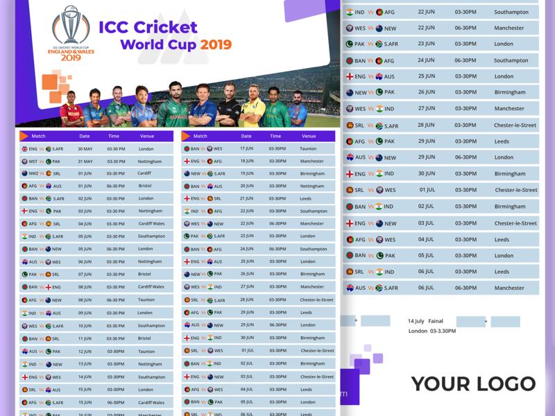 ICC Cricket World Cup 2019 Schedule icon flat vector ux ui branding web logo illustration design