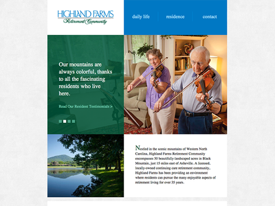 Highland Farms Website web design flat clean simple