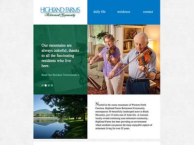 Highland Farms Website web design flat clean simple