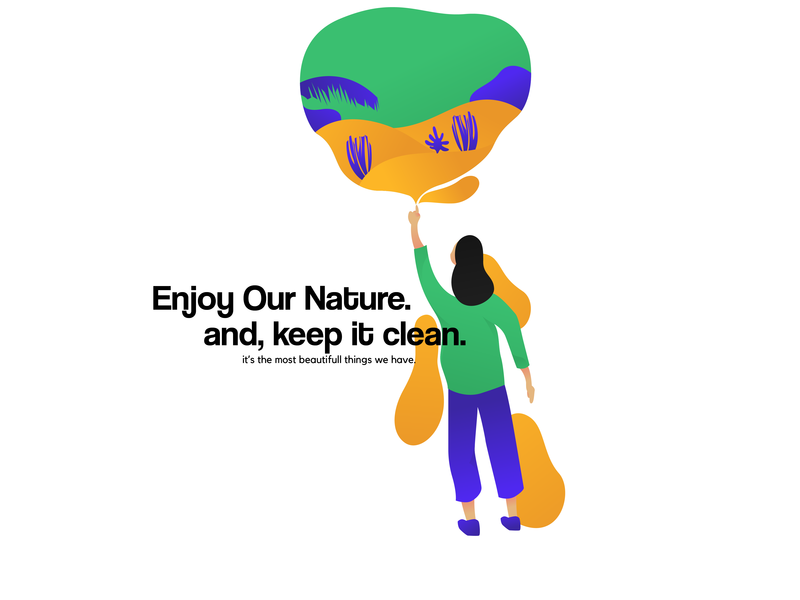 Custom Illustration - Enjoy Our Nature, They Are so Beautifull trend2019 customillustration graphicdesign desain trends blue dribbble design design graphic graphic vectorindonesia vectorart vector illustrator nature vectorillustration illustration