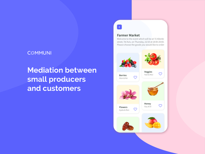 Communi App community farmers fruits and vegetables online app uxuidesign uxdesign ux uidesign ui productdesign product design design appdesign mobile design mobile app mobile ui