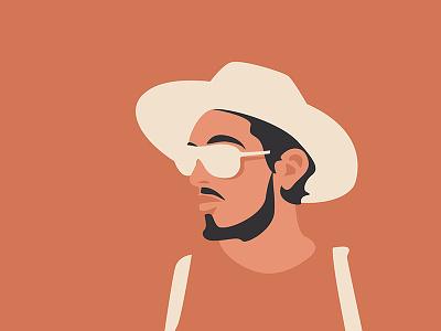 Shades of peach guy shades hat flat design design flat illustration