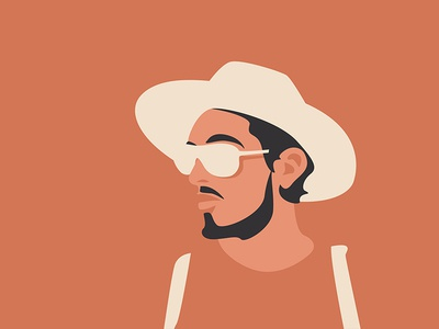 Shades of peach guy shades hat flat design design flat illustration