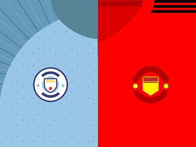 2018 Manchester Derby! flat design game day soccer shirts football derby man u man city manchester