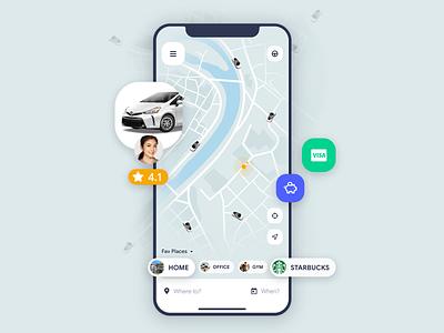 Uber App Concept uxdesigner uidesigner appdesigner app ux ui