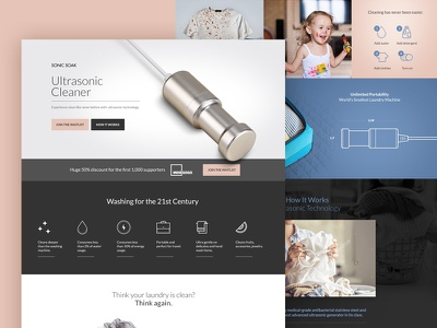 Landing page for an ultrasonic cleaner device uxdesign creative interface converts website inspiration uidesign webdesign design ux dribbble ui