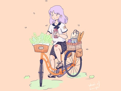 Bycicle girl spring draw color plants springtime japan kawai cute drawing illustration nature basket womand girl vintage vtt bycicle velo plant spring