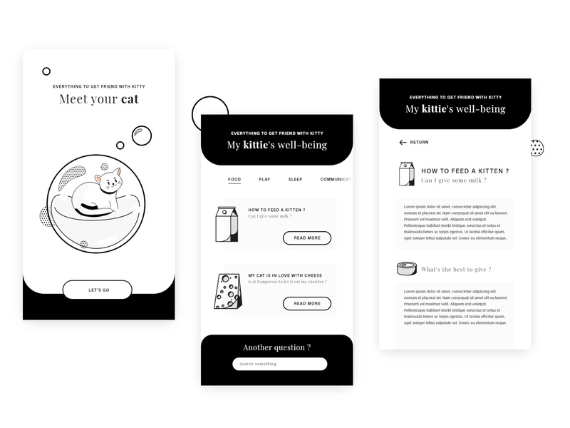 Meet your cat - Ux ui Concept app black and white uxdesign mobile app cat icon vector graphic flat design uidesign ui ux ux design ux ui