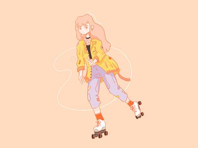 Roller vintage girl illustration manga play clothes look roller derby roller skate vintage retro flat graphic design color illustration woman draw illustrator girl roller
