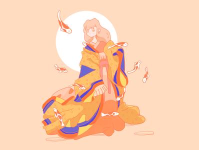 Japanese woman geisha kimono illustration chinese art illustrator japanese culture graphic asian color woman fantasy koi draw illustration yukata kimono japanese geisha japan