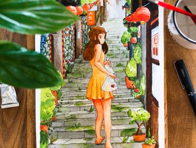 Kaidan - Watercolor illustration illustration art plant artist print nature paint watercolour girl landscape city watercolor painting watercolor draw asian illustration art japanese japan